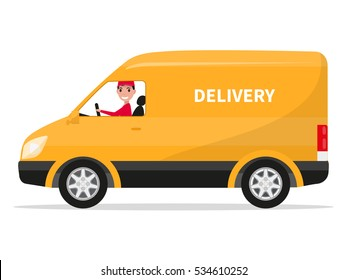 Cartoon delivery truck van with courier isolated on white background. Vector illustration of yellow truck delivery. Courier sitting in the van car. Cargo auto. Flat style. Side view, profile.