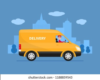 Cartoon delivery truck van with man courier. Vector illustration of yellow truck delivery against the background of the city. Courier sitting in the van car. Cargo auto. Flat style, side view.