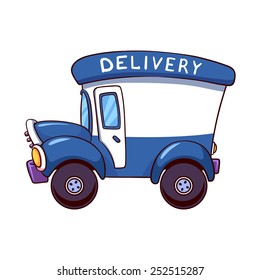 Cartoon delivery truck. Vector clip-art illustration on a white background.