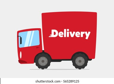 Cartoon Delivery Truck Vector Illustration