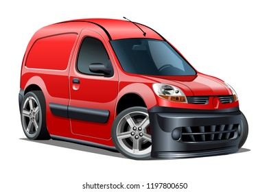 Cartoon delivery van isolated on white background. Available EPS-10 vector format separated by groups and layers with transparency effects for one-click repaint