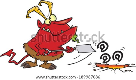 cartoon demon shoveling symbols stock vector royalty free