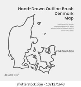 Cartoon Denmark Map, Hand Drawn Denmark Map, Doodle Denmark Map Vector Outline Style Map Information