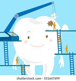 cartoon dental care and restoration of teeth