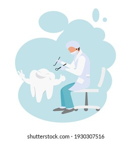 Cartoon Dentist sitting on chair is working on strong teeth. Health, dental clinic appointment. Dental office. Tooth doctor examines the patient on white background.Vector illustration flat design