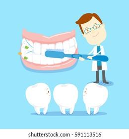 cartoon dentist teach you how to brush teeth
