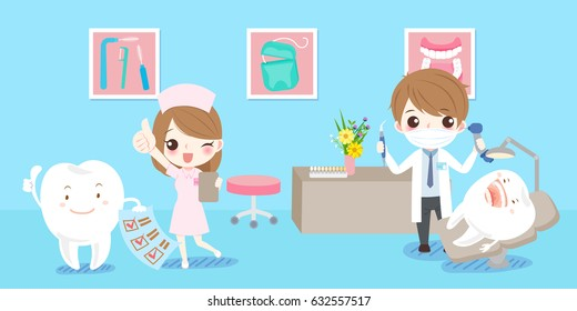 cartoon dentist with tooth health concept on blue background