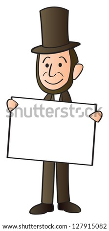 Cartoon Depiction Abraham Lincoln Holding Blank Stock Vector