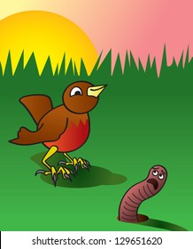 A cartoon depiction of an early bird about to catch a worm.