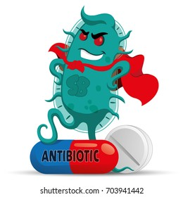 The cartoon depicts a super bug microorganism with a super villain cover, getting strong and resistant because of medicine or antibiotic. Ideal for informative and medicinal materials