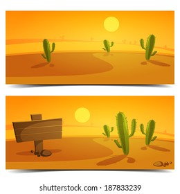 Cartoon desert landscape banner design.