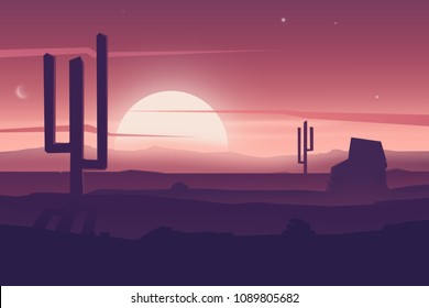 Cartoon desert landscape with cactus, hills silhouettes, vector nature horizontal background