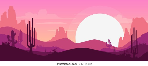 Cartoon desert landscape with cactus, hills and mountains silhouettes, vector nature horizontal background