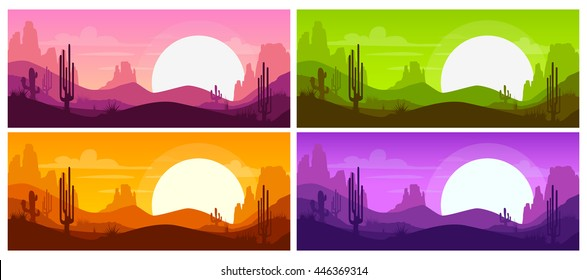 Cartoon desert landscape with cactus, hills and mountains silhouettes, nature horizontal background. Different color variations. Vector illustrations.