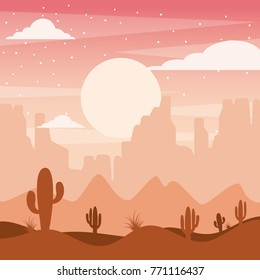 cartoon desert landscape with cactus hills and mountains silhouettes nature