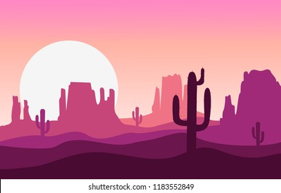 Cartoon desert landscape with cactus, sun, hills and mountains silhouettes, vector nature horizontal background in flat design