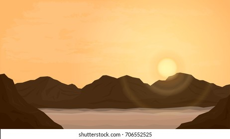 Cartoon Desert Landscape. Flat Vector Illustration with Sand, Mountains, Sky and setting Sun.
