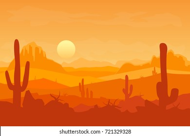 Cartoon Desert with Silhouettes Cactus and Mountain Travel Africa Landscape Flat Style Design. Vector illustration