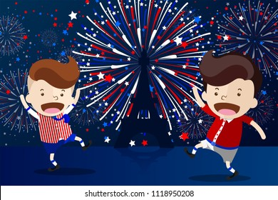 Cartoon Design for '14 Juillet' French Bastille Day or 'La fête Nationale Français' - 2 Boys dance in front of the Eiffel Tower, the symbolic of France with the beautiful fireworks behind