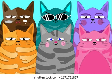 Cartoon design with colorful  cat  set on blue background