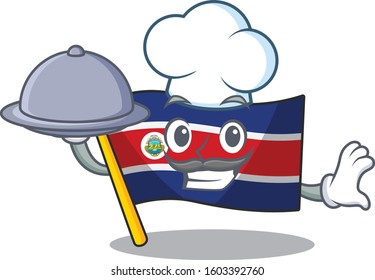 cartoon design flag costa rica Scroll as a Chef with food on tray
