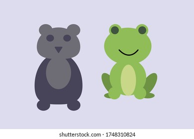 cartoon design frog and teddy bear vector illustration