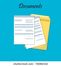 Cartoon design illustration for business documents, business report or agreement. Documents envelope. p?ofile or tax form