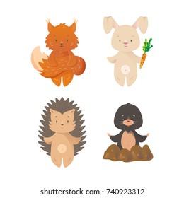 Cartoon design wild forest animals set