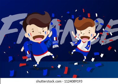 Cartoon Design for World Cup 2018 Football Fans with supporters scarf  to cheer up and celebrate to the 16 Finalists of tournament - France, Allez les Bleus