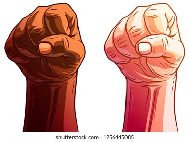 Cartoon detailed graphic white and black human hands. Showing rebel knuckle gesture or sign. Isolated on white background. Vector icons set.