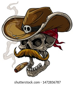 Cartoon detailed realistic colorful scary human cowboy skull with leather hat, bandana, mustache and cigar. Isolated on white background. Vector icon.