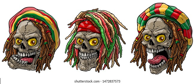 Cartoon detailed realistic colorful scary human jamaican rasta skulls with dreadlocks and cap. Isolated on white background. Vector icon set.