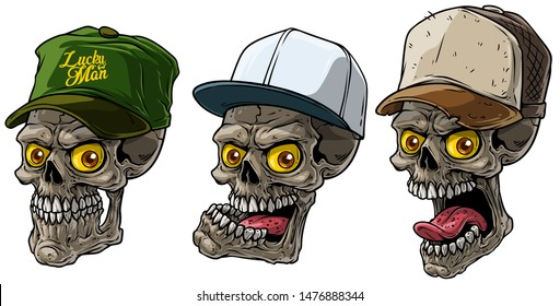 Cartoon detailed realistic colorful scary human skull in trucker cap with yellow eyes. Isolated on white background. Vector icon set.