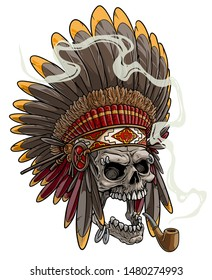 Cartoon detailed realistic colorful scary human skull in native american indian chief headdress with feathers, piercing and tobacco pipe. Isolated on white background. Vector icon set.