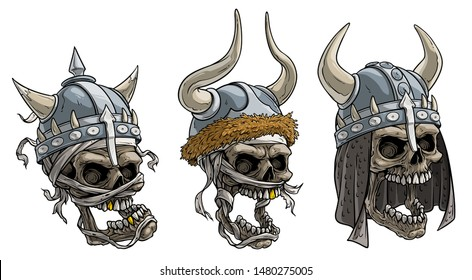 Cartoon detailed realistic colorful scary viking warrior skulls in metal helmet with horns, fur and bandage. Isolated on white background. Vector icon set.