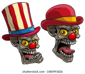 Cartoon detailed realistic colorful scary circus clown skulls with red noses and hat. Isolated on white background. Vector icon set.