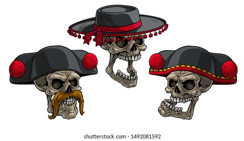 Cartoon detailed realistic colorful scary human skulls in black traditional spanish toreador or matador hat with red pompoms and ribbon. Isolated on white background. Vector icon set.