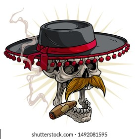 Cartoon detailed realistic colorful scary human skull in black traditional spanish toreador or matador hat with red pompoms, ribbon and cigar. Isolated on white background. Vector icon.