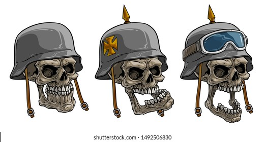 Cartoon detailed realistic colorful scary human skulls in old retro metal german soldier helmets with eye glasses, eagle and cross. Isolated on white background. Vector icon set.