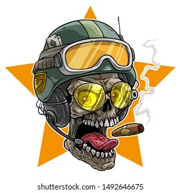 Cartoon detailed realistic colorful scary human skull in modern army protective soldier helmet with eyeglasses and cigar. Isolated on white background. Vector icon.