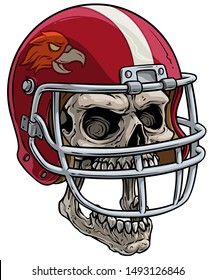 Cartoon detailed realistic colorful scary human skull in red american football rugby protective sport helmet with eagle. Isolated on white background. Vector icon.