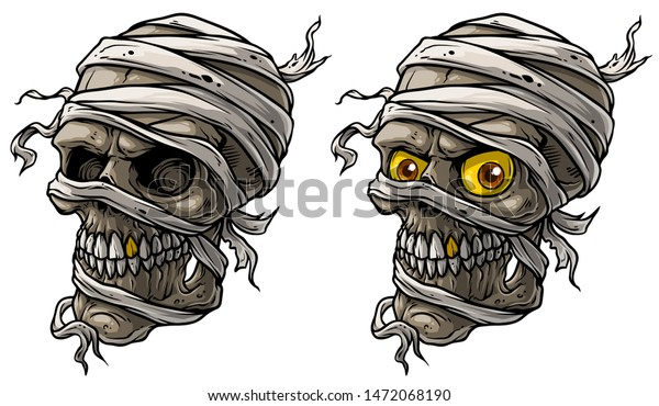 Cartoon Detailed Realistic Colorful Scary Egyptian Stock Vector Royalty Free 1472068190