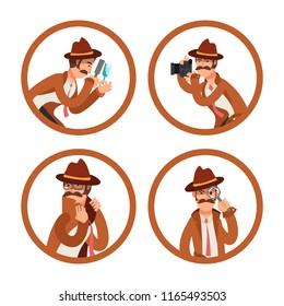 Cartoon detective avatars vector set. Illutration of police investigator, private inspector