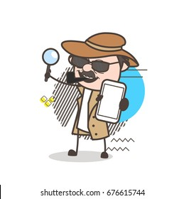 Cartoon Detective Inspector Showing a Mobile Vector Illustration