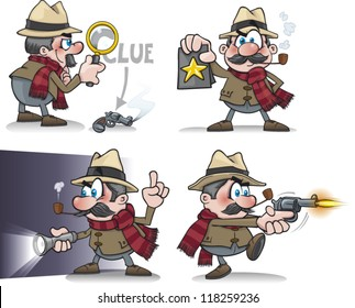 Cartoon detective set
