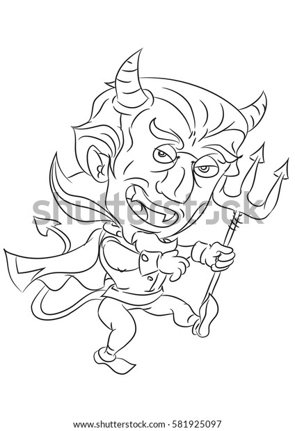 cartoon devil smiling and dancing coloring page