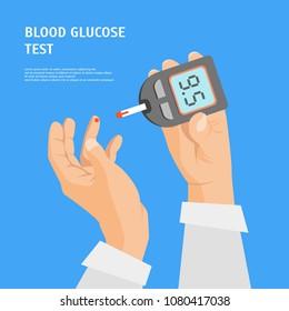 Cartoon Diabetes Concept Human Hands Holding Glucometer Card Poster Medical Test Element Flat Design Style. Vector illustration