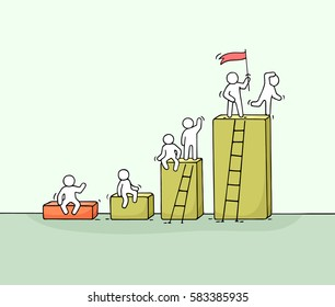 Cartoon diagram with working little people. Doodle cute miniature teamwork. Hand drawn vector illustration for business design and infographic.