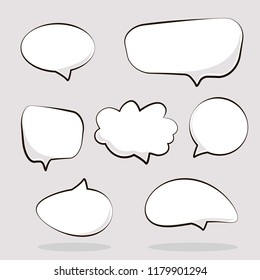 Cartoon dialogs cloud. Set of think and talk speech bubbles for messages and dialog words. Doodle style comic balloon, cloud shape design elements.