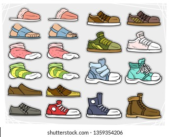 Cartoon different colorful shoes and socks. Slippers and sandals. Boots and sneakers. Isolated on gray background. Vector stickers icon set.